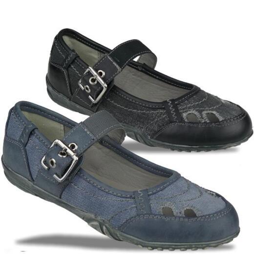 best cheap 7c5d3 dc564 INDIGO Ballerina Spangenschuhe im trendigen Jeans-Look 2 Farben Gr.31-39