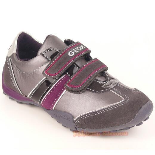 GEOX J SNAKE F Lederschuh Sneaker grau/lila  Gr. 29-41