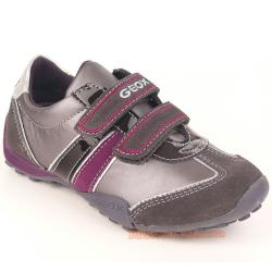 GEOX J SNAKE F Lederschuh Sneaker grau/lila + coole Uhr Gr. 29-41 29