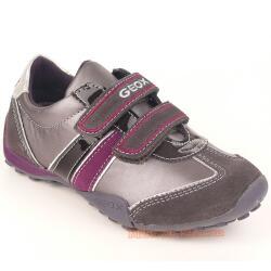 GEOX J SNAKE F Lederschuh Sneaker grau/lila + coole Uhr Gr. 29-41 38