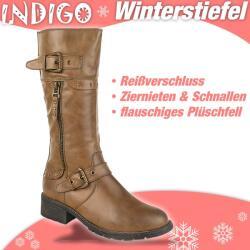 INDIGO Stiefel CELINA - gefüttert - hellbraun + schwarz Gr. 33-39