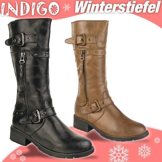 INDIGO Stiefel CELINA - gefüttert - hellbraun + schwarz Gr. 33-39 34 schwarz
