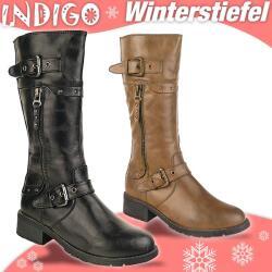 INDIGO Stiefel CELINA - gefüttert - hellbraun + schwarz Gr. 33-39 38 schwarz