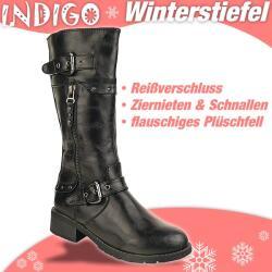 INDIGO Stiefel CELINA - gefüttert - hellbraun + schwarz Gr. 33-39 39 schwarz
