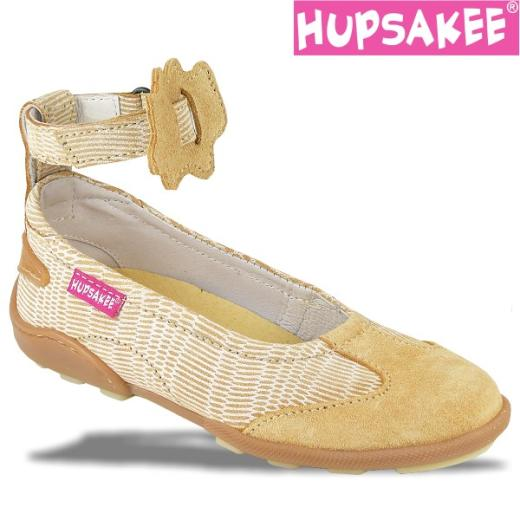 Hupsakee Mädchen Ballerina, Leder, beige, Gr. 26-33 29