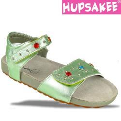 Hellgrüne Hupsakee Sandale aus Leder, Ziersteine, Gr. 27-33
