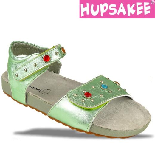 Hellgrüne Hupsakee Sandale aus Leder, Ziersteine, Gr. 27-33 27