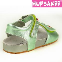 Hellgrüne Hupsakee Sandale aus Leder, Ziersteine, Gr. 27-33 31