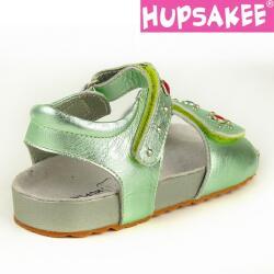 Hellgrüne Hupsakee Sandale aus Leder, Ziersteine, Gr. 27-33 33