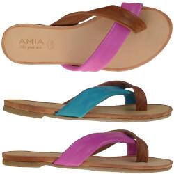 AMIA trendige Zehensandale aus Leder in 2 Farben Gr.37-42 pink EUR 39