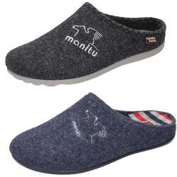 MANITU HOME Herren Hausschuhe Pantoffel grau/blau...