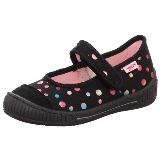 sports shoes 308d3 67d30 SUPERFIT Hausschuh Ballerina BELLA 00261-03 schwarz bunte Punkte Klett  Gr.25-38