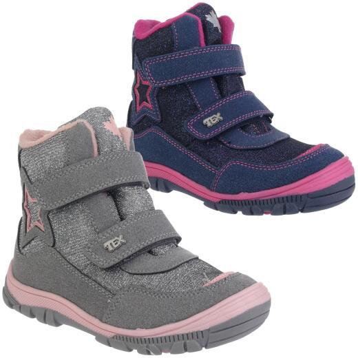 5f0f2db3ce9342 INDIGO Canadians Mädchen Halbstiefel Stiefel Boots Glitzer Tex-Membran  silbergrau oder navy Gr.28-35