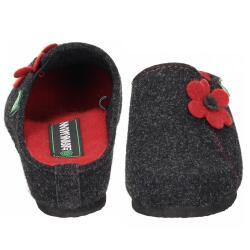 Dr. Brinkmann Damen Hausschuh 330162 Filz grau rote Blume...