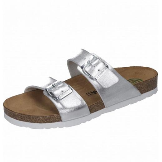 2d4baac78f0eb6 DR.BRINKMANN Sandale Pantolette Lederfussbett 701394 Metallic-Look silber Gr .37-44