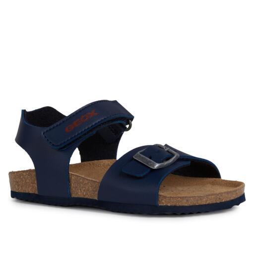 size 7 size 40 huge sale GEOX Kinder Sandale J New Sandal STORM Lederfussbett navy/red Gr.28-39