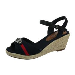 TOM TAILOR 6990901 Damen Sandalette Keilpumps Wedges navy...