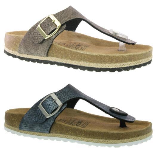 sale retailer bd2d0 302fc SUPERSOFT 274 921 Zehentrenner Sandale Lederfussbett metallische Töne  Gr.37-42