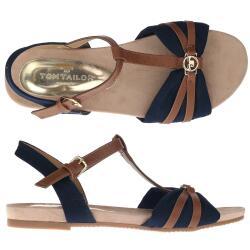 TOM TAILOR 8092209 Damen Sandale T-Steg-Sandale Riemchensandale blau Gr.37-43