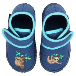 Nanga Faultier Baby Hausschuh Lauflerner Klett blau Gr.19-26