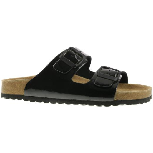 Supersoft 274 155 Lack Pantolette Sandale Lederfussbett Kork 2 Schnallen  Gr.36-42 schwarz EUR 40