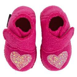 Nanga Heartbeatz Baby Hausschuh Klett breiter Einstieg Glitzerherz Gr.19-26