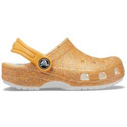 Crocs Kids Classic Glitter Clog 205441-9BE in orange...