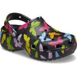 Crocs Womens Classic Platform Graphic Clog Butterfly...