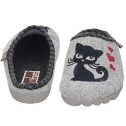Manitu Home 320032-91 Damen Hausschuhe süße Katzen hellgrau Gr.37-42