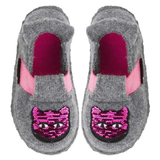 Nanga Fancykitty Mädchen Hausschuh Slipperform Pailletten Katze Gr. 23-35