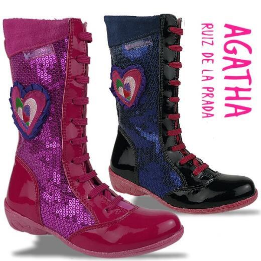 Agatha Ruiz de la Prada Mod.111983 Lederstiefel Pailletten Gr.27-35