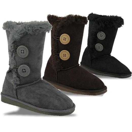 INDIGO kuschelige Boots CANADIANS 2 Knöpfe in 3 Farben Gr.28-35 schwarz 30